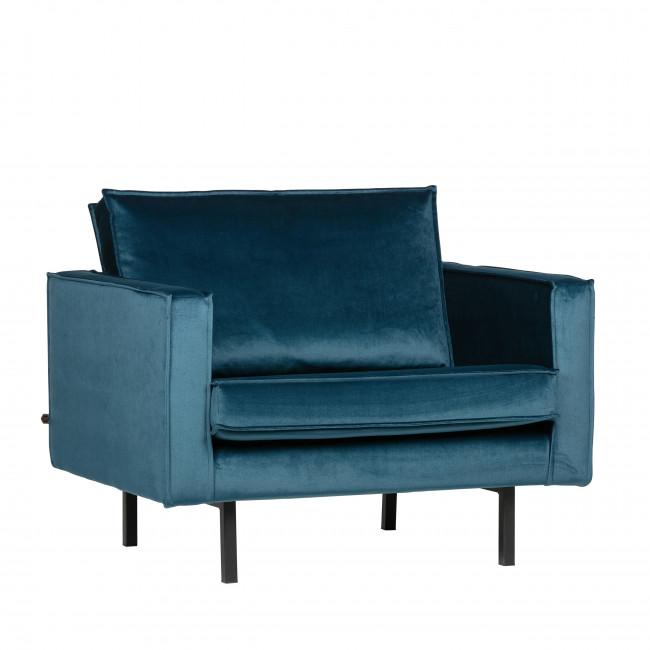 Fauteuil vintage en velours Velvet Bronco - Bleu paon