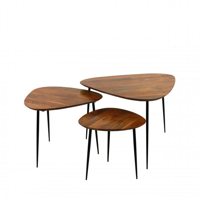 Axio - Set de 3 tables d'appoint en acacia