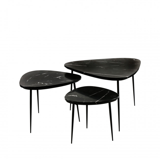 Axio - Set de 3 tables d'appoint en marbre
