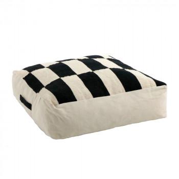 Zita - Coussin de sol en coton noir et blanc