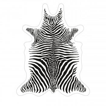 Bokala - Tapis vinyle imprimé blanc style peau de zèbre