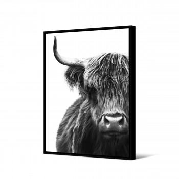 Uquia - Toile imprimée bison fond blanc 92,5x65cm