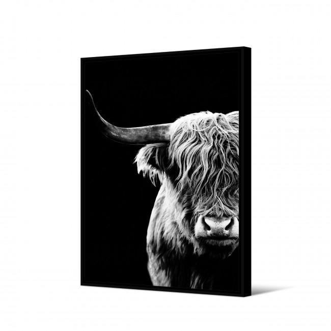 Uquia - Toile imprimée bison fond noir 92,5x65cm