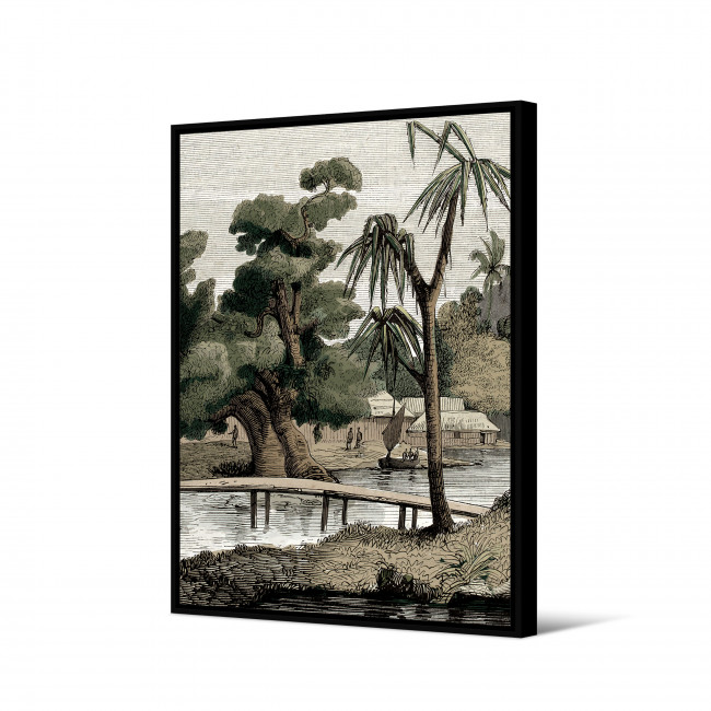 Kigoma - Toile imprimée village 92,5x65cm