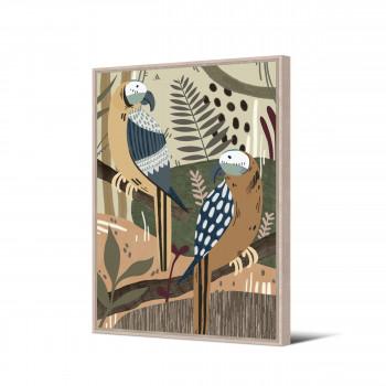 Masasi - Toile imprimée perroquets 92,5x65cm