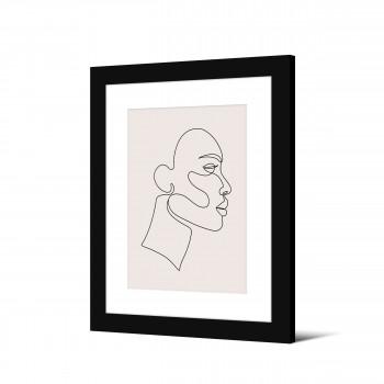 Storjord - Image encadrée visage trait continu 50x40cm