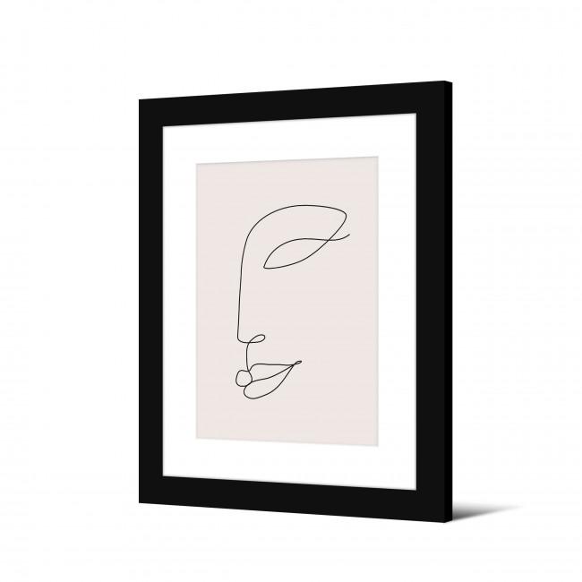 Notodden - Image encadrée visage trait continu 50x40cm