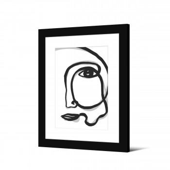 Grevlunda - Image encadrée visage minimaliste 50x40cm