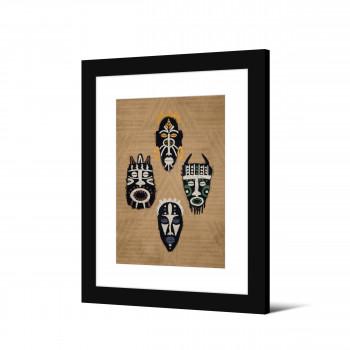 Ouesso - Image encadrée masques africains 50x40cm