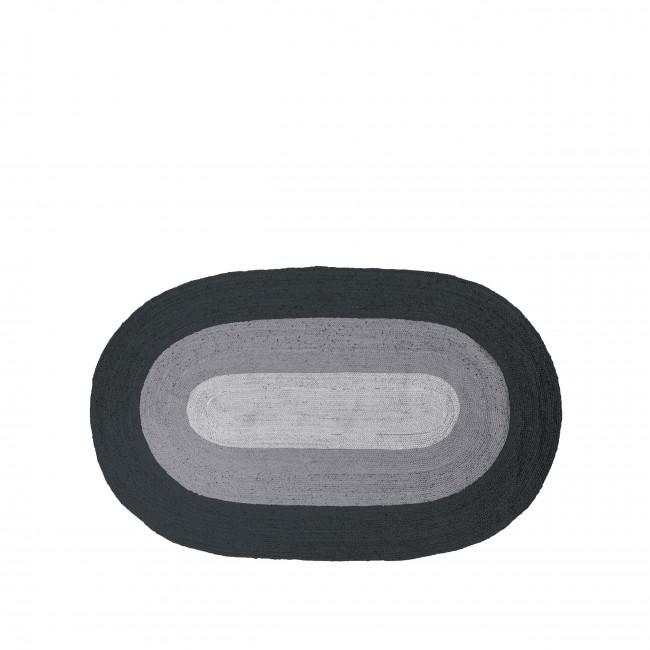 Border - Tapis en jute noir et gris