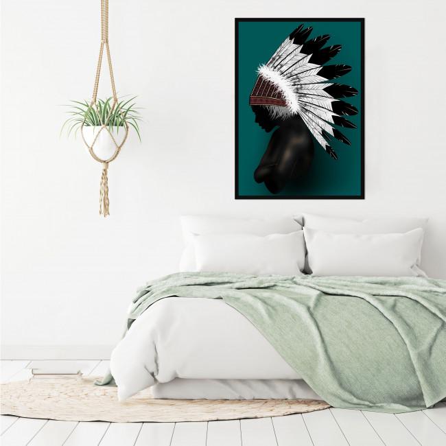 Sarandi - Toile imprimée coiffe plumes 92,5x65cm