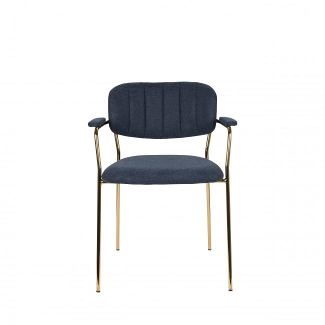 Jolien - 2 chaises avec accoudoirs et pieds dorés