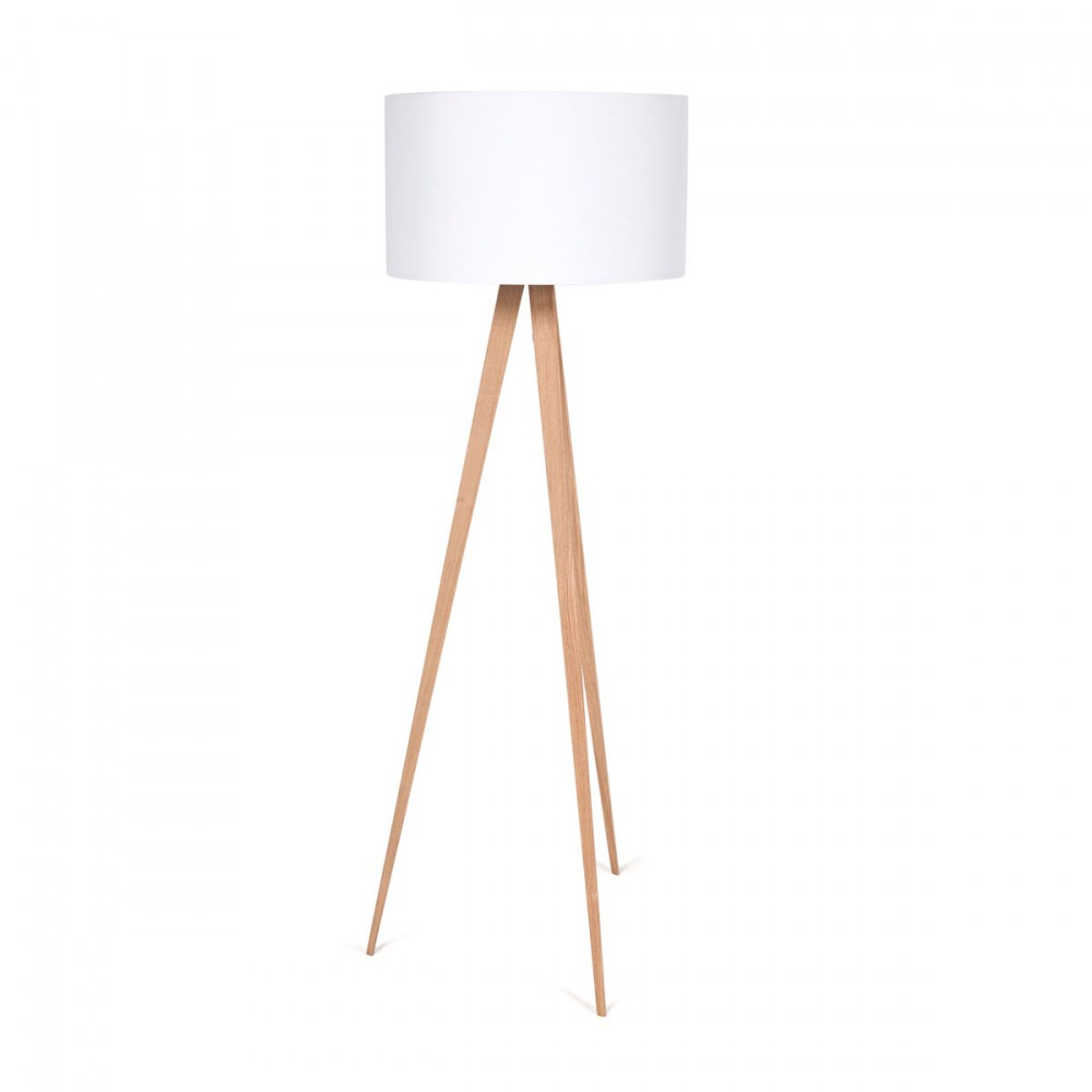 lampadaire design en bois et abat jour textile tripod wood. Black Bedroom Furniture Sets. Home Design Ideas