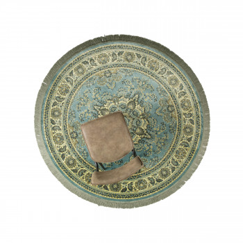 Bodega - Tapis persan rond à franges vert