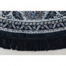 Bodega - Tapis persan rond à franges bleu
