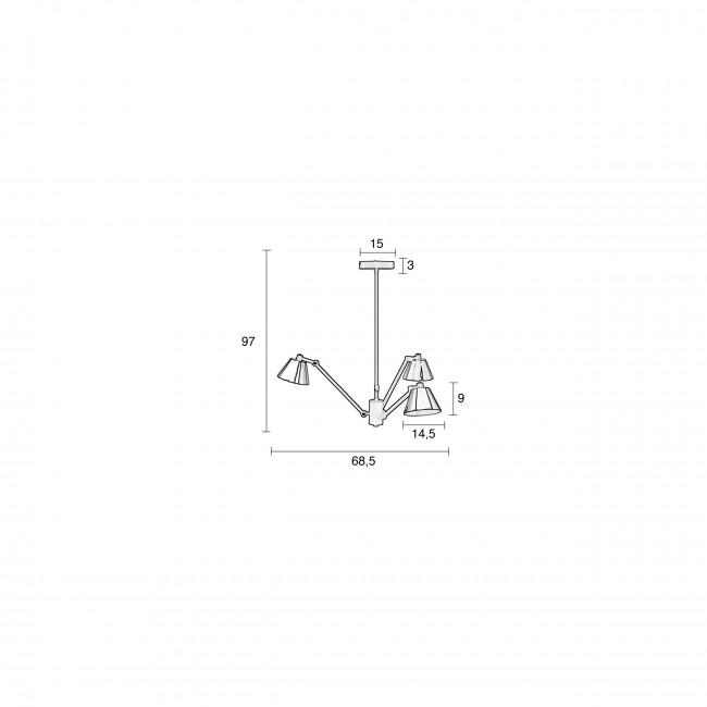 Lub - Suspension 3 bras métal