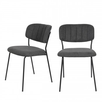 Jolien - 2 chaises pieds noirs