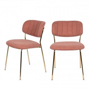Jolien - 2 chaises pieds dorés