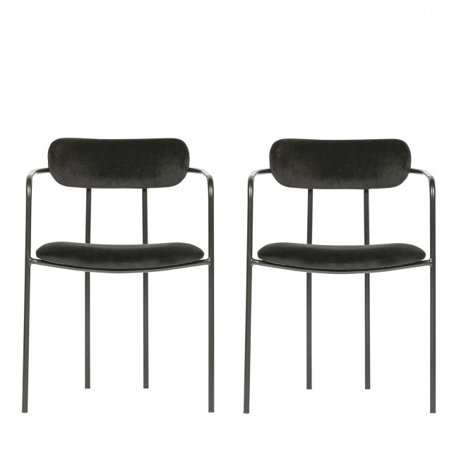 Ivy - 2 chaises avec accoudoirs velours et argent