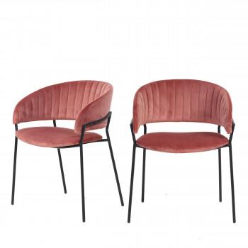 Binford - 2 chaises pieds noirs en métal et velours