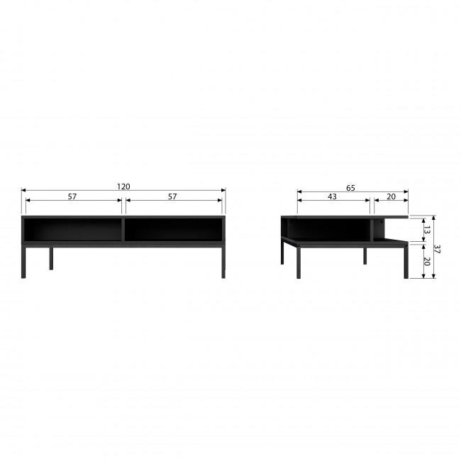 Brix - Table Basse en métal et bois