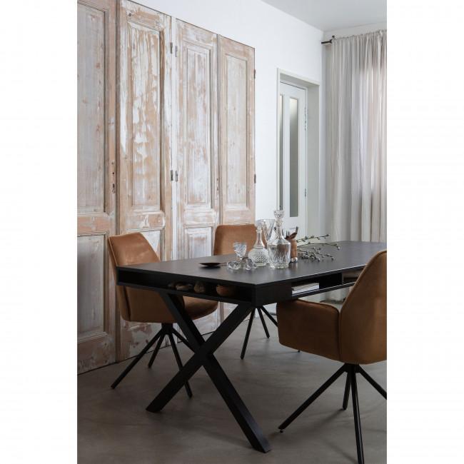 Trian - Table à manger en bois et métal avec piétement en X 220x90cm