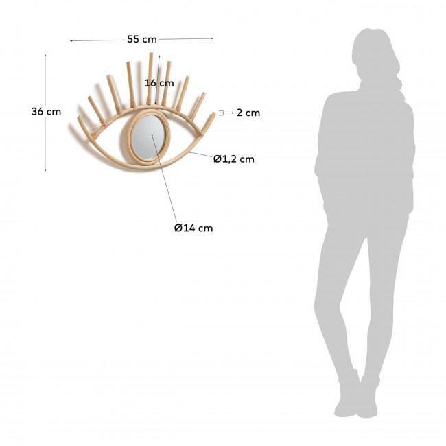 Cillan - Miroir œil en rotin 55x36cm