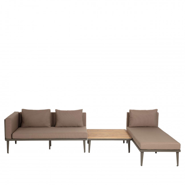 Caraballo - Salon de jardin 1 canapé modulable, 1 table d'appoint et 1 table basse