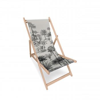Rumbek - Transat en bois et toile imprimée motif jungle
