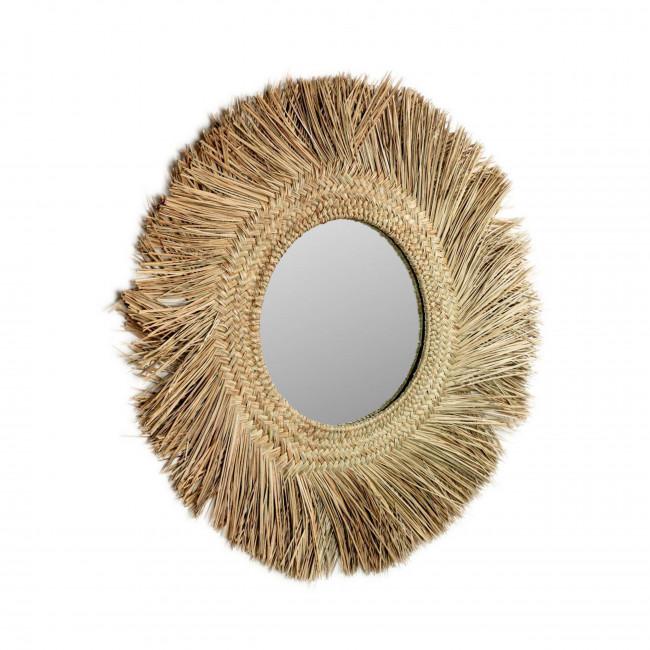 Apila - Miroir rond en fibres naturelles Ø72cm