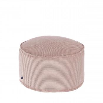 Abadin - Pouf rond en velours côtelé Ø60cm
