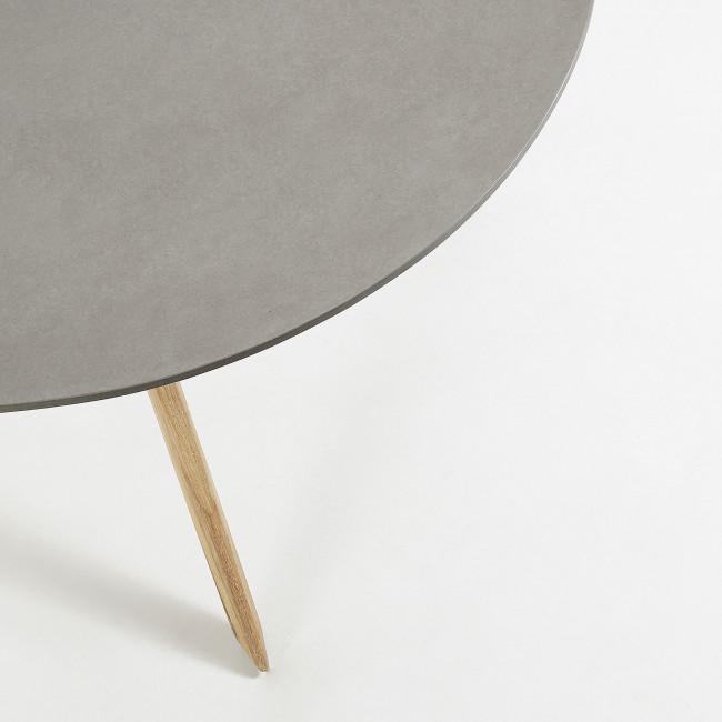 Subina - Table à manger en bois et béton Ø120 cm