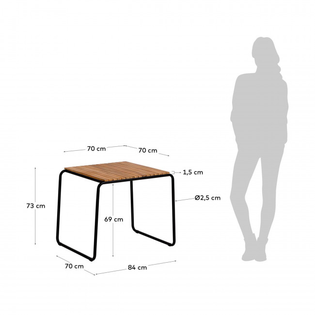Gulfin - Table à manger en bois et métal 84x70cm