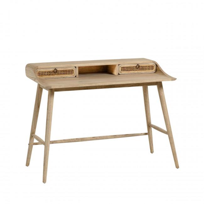 Jarabacoa - Bureau en bois et cannage 110x60cm