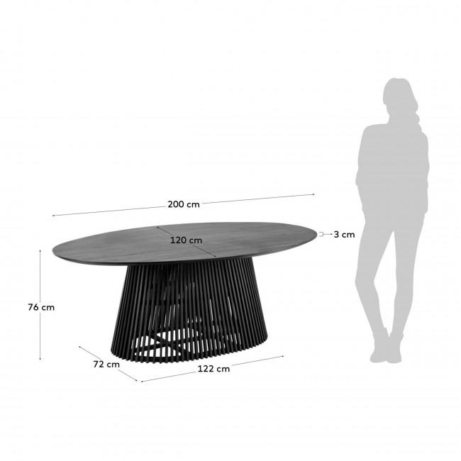 Jeanette - Table à manger ovale 200x120cm