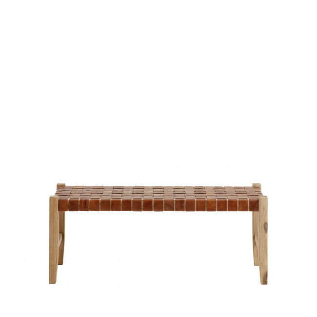 Campechuela - Banc en bois et cuir 120cm