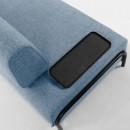 Duabo - Canapé 3 places en tissu avec plateau
