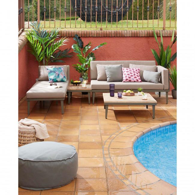 Caraballo - Salon de jardin 1 canapé d'angle modulable et 1 table basse