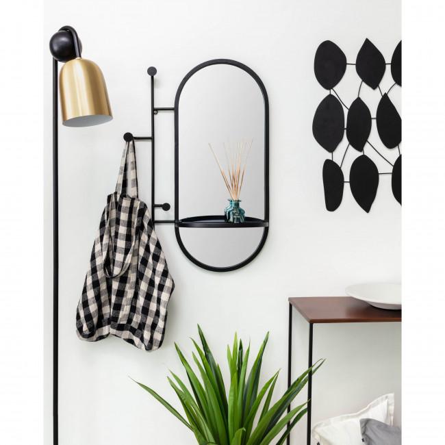 Courel - Miroir ovale en métal 3 crochets et étagère 52x82cm