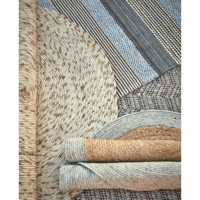 Dehesas - Tapis rond en laine gris clair