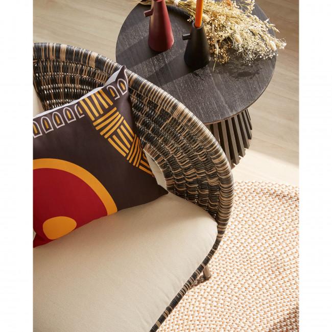 Biduido - Tapis en tissu beige Ø100cm