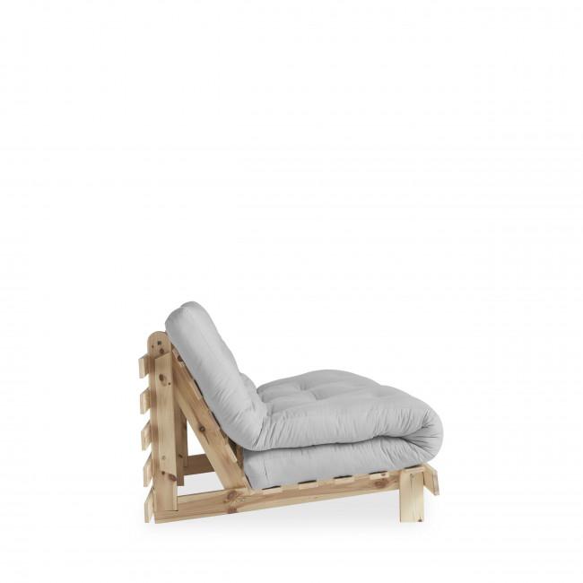 Roots - Canapé convertible en bois naturel et tissu