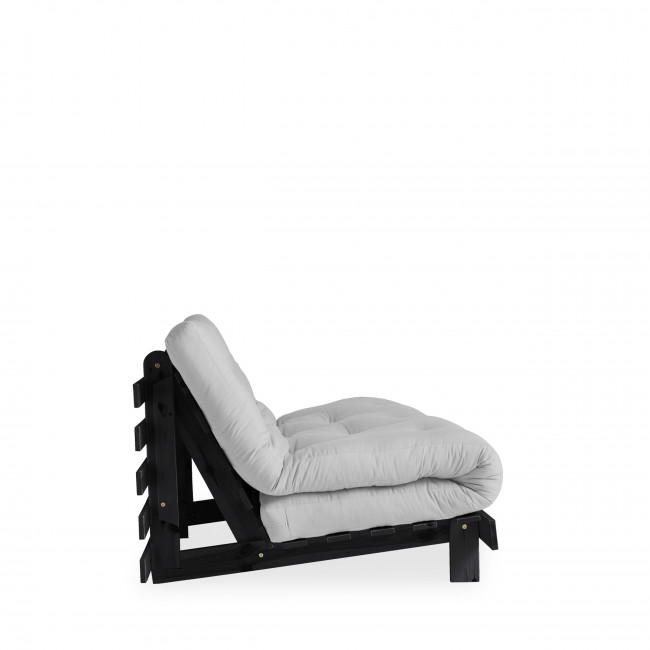 Roots - Canapé convertible en bois noir et tissu