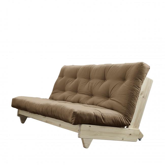 Fresh - Canapé convertible en bois naturel et tissu