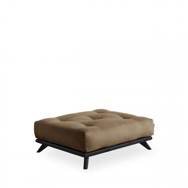 Senza - Pouf en bois noir et tissu