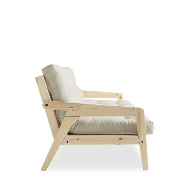Grab - Canapé convertible en bois naturel et tissu