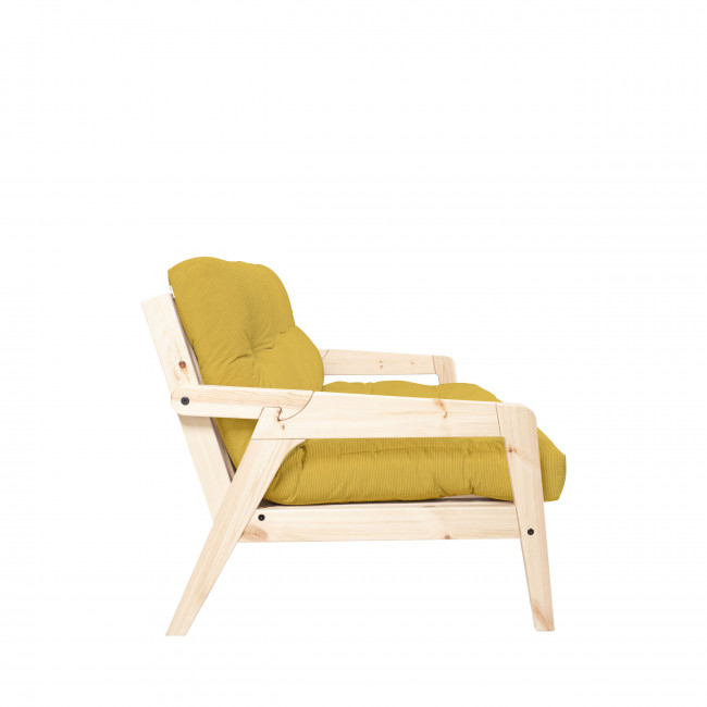 Grab - Canapé convertible en bois naturel et velours