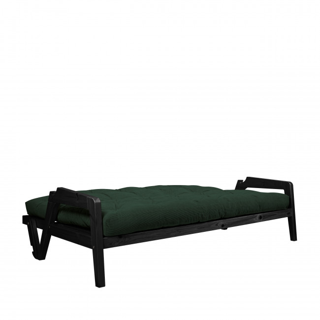 Grab - Canapé convertible en bois noir et velours