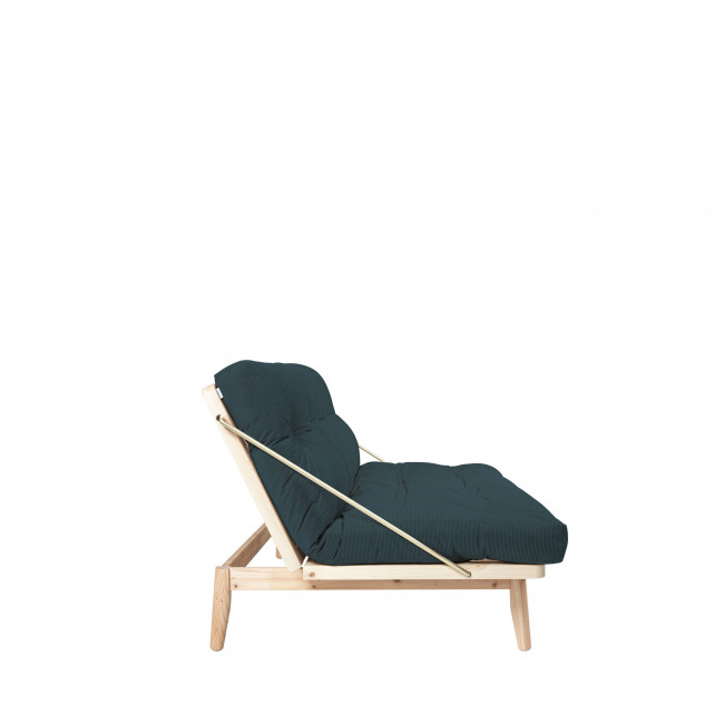 Folk - Canapé convertible en bois naturel et velours
