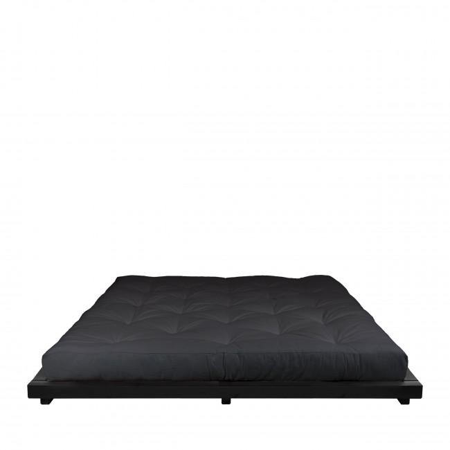 Dock - Ensemble lit en bois noir 160x200cm et futon en latex épaisseur 18cm